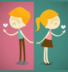 boy and girl broken heart vector image