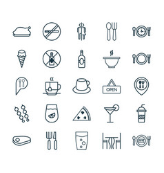 Cafe icons set collection of stick barbecue food vector