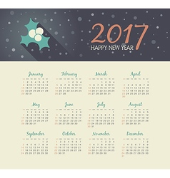 Calendar 2017 year with christmas mistletoe vector image