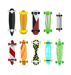 cartoon color skateboard set vector image