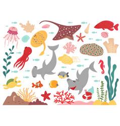 Cartoon marine life sea world animal underwater vector