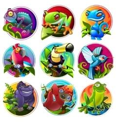 Cartoon tropical animals vector image