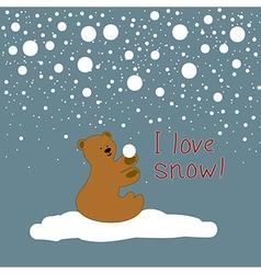 christmas card with bear cub vector image
