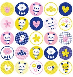 circles pattern baby panda bears flowers clouds vector image