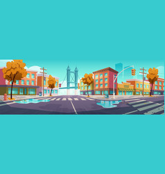 City crossroad in autumn time empty intersection vector