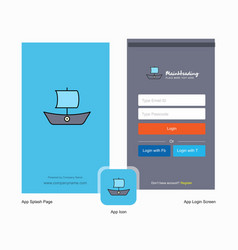 company boat splash screen and login page design vector image