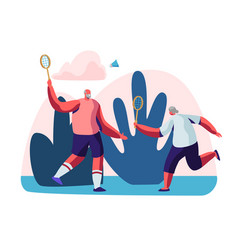 couple cheerful male pensioners playing badminton vector image