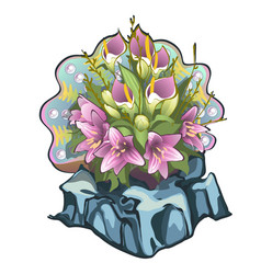creative decorated fresh flower bouquet lilies vector image