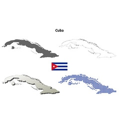 Cuba outline map set vector image