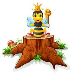 cute bee posing on tree stump vector image