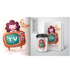 Cute hedgehog television poster and merchandising vector