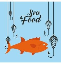 Delicious sea food fish restaurant vector