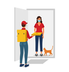 delivery man brings an order to a customer vector image