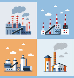 digital blue factory pollution vector image