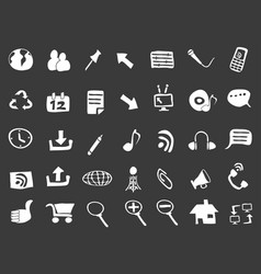 doodle web icons on black background vector image