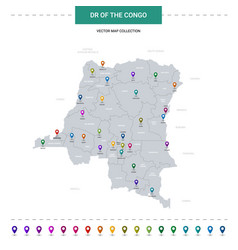dr congo map with location pointer marks vector image