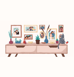 Family portraits on wall flat vector