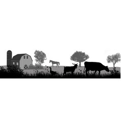 Farm animals silhouette on beautiful rural vector