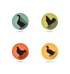 farm birds silhouette animals set livestock icons vector image
