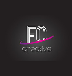 Fc f c letter logo with lines design and purple vector