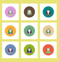 flat icons halloween set of pumpkin and skull vector image