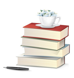 flower in cup on books pile with fountain pen vector image