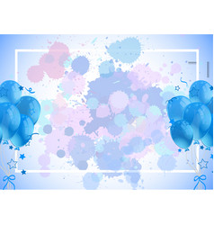 Frame template design with blue balloons vector