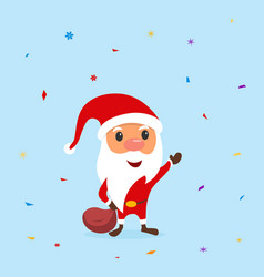 Funny santa claus with a bag and candy around him vector