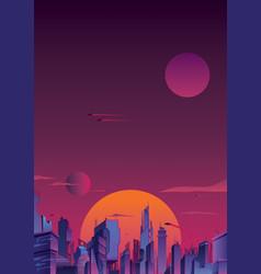 futuristic city vertical vector image