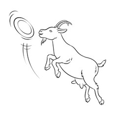 Goat catches frisbee disc coloring vector
