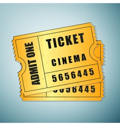 Gold cinema ticket icon isolated on blue vector