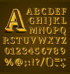 golden english alphabet on khaki background vector image