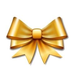 Golden gift bow on white background vector