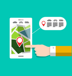 Gps navigation - city map on mobile phone vector