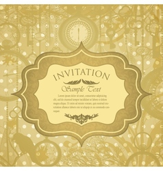 grungy invitation with antique clocks vector image vector image