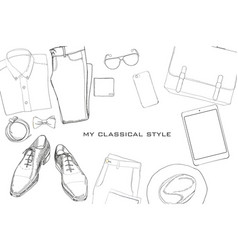 Hand drawn doodle flat lay vector