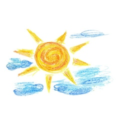 Hand Drawn Sun and Clouds2 vector