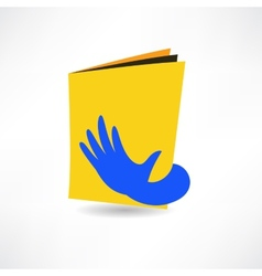 hand on the book icon vector image
