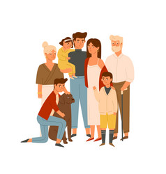Happy big family together flat wife vector