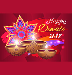 happy diwali 2018 poster on vector image