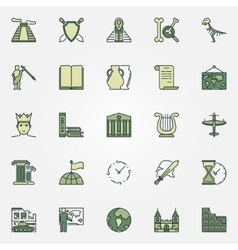 History colorful icons vector