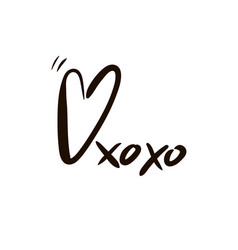 Hugs and kisses inscription isolated vector