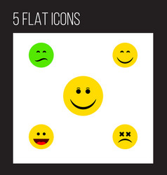 icon flat emoji set of sad grin dizzy emoticon vector image