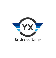 initial letter yx logo template design vector image