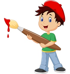 Little boy painting with paintbrush vector