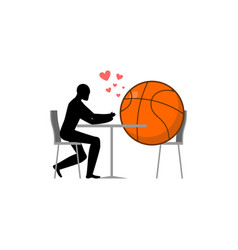 Lover basketball ball and guy in cafe lovers in vector