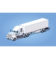 Low poly heavy american white truck with the vector image