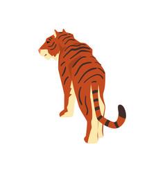 Majestic tiger back view wild cat predator vector