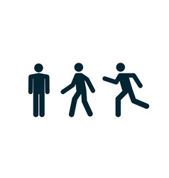 man stand walk and run pictograph icon vector image