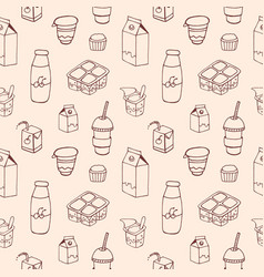 monochrome seamless pattern with dairy products vector image